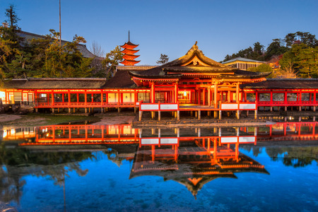 Itsukushima Shrine at night, Miyajima, Japan. Editorial