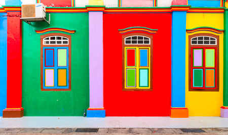 multi colors: Colorful facade of building in Little India, Singapore