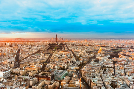 Arc de Triomphe: Wide angle view of Paris at twilight. France.