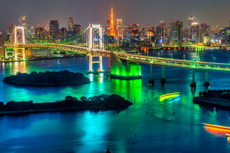 travel japan: Tokyo skyline with Tokyo tower and rainbow bridge.