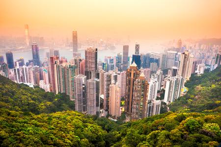 hong kong night: Panoramic view of Hong Kong skyline. China.