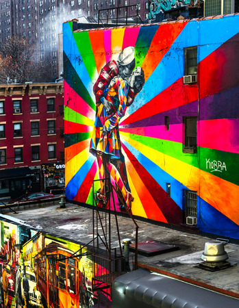 vj: NEW YORK CITY - DECEMBER 01: A Mural by artist Brazilian artist Kobra December 01, 2013 in New York, USA. The colorful mural is based on Alfred Eisenstaedts photo from V-J Day in Times Square.