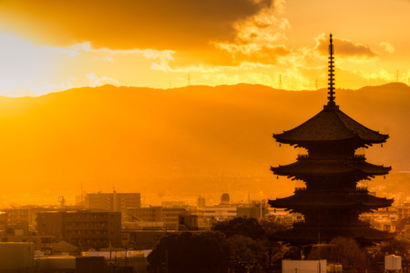 japan sunset: Toji temple at sunset, Kyoto, Japan Stock Photo