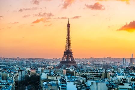 eiffel: View of the Eiffel tower at sunrise, Paris. Stock Photo