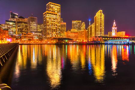 coit: Downtown San Francisco at twilight, California, USA.