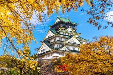 ninja: Osaka Castle in Osaka with autumn leaves. Japan.