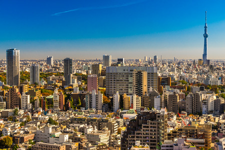 asakusa: Tokyo skyline, with the Skytre and the Flamme dor building, Japan.