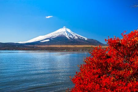 japan sky: Mount Fuji reflected in Lake Yamanaka at dawn, Japan.