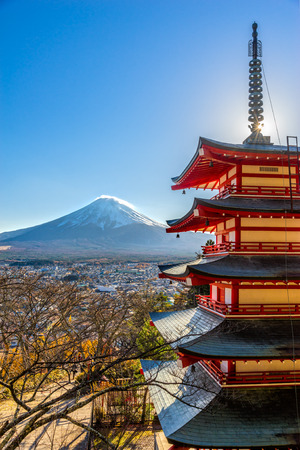 seaonal: Mount Fuji and Chureito Pagoda, Japan. Stock Photo