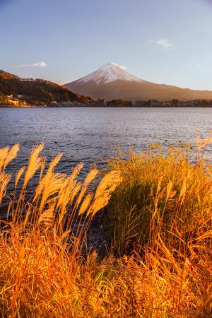 kawaguchi ko: Mount Fuji and Lake Kawaguchi at sunset, Japan.