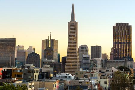 twilight: Downtown San Francisco at twilight, California, USA.