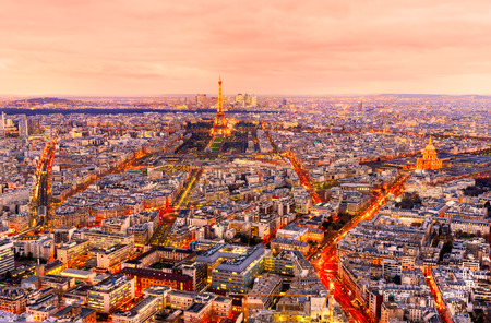 la defense: Wide angle view of Paris at twilight. France.