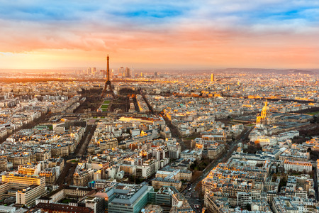Wide angle view of Paris at twilight. France.