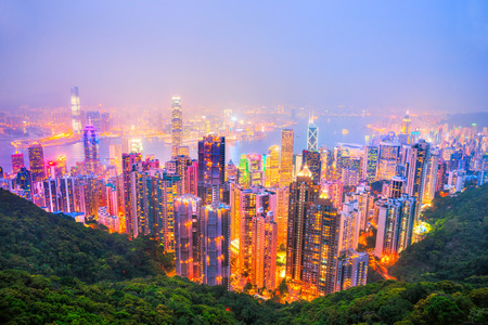 hong kong night: Panoramic view of Hong Kong skyline. China.