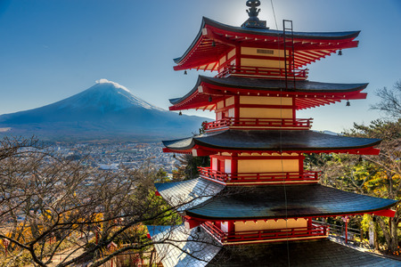 seaonal: Mount Fuji and Chureito Pagoda, Japan. Editorial