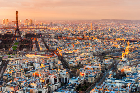 defense: Wide angle view of Paris at twilight. France.