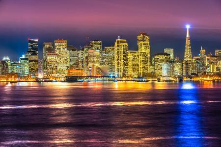 San Francisco skyline at night in California, USA.