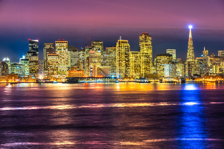 san francisco bay: San Francisco skyline at night in California, USA.
