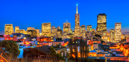 transamerica: Downtown San Francisco at twilight in California, USA. Stock Photo