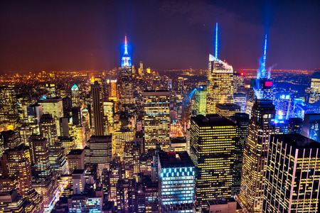 new york city panorama: New York City Skyline in USA.