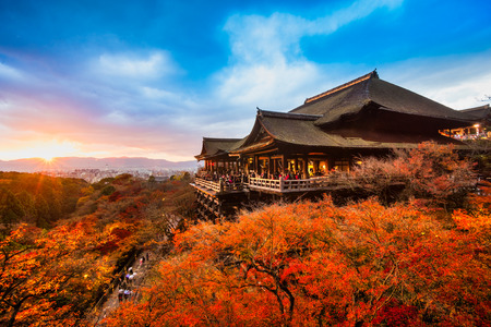 temple: Autumn Color at Kiyomizu-dera Temple in Kyoto, Japan