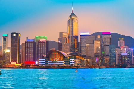 hong kong: Panoramic view of Hong Kong skyline. China.