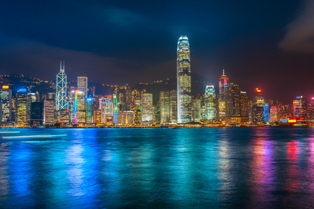 hong kong harbour: Panoramic view of Hong Kong skyline. China.
