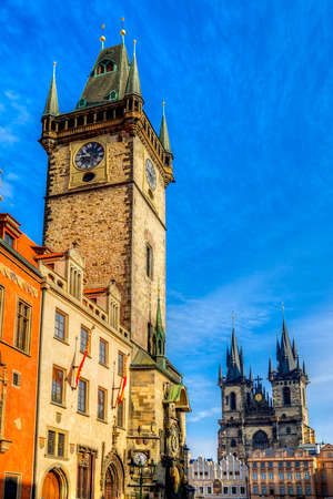 tyn: Tyn Church and Old Town Square in Prague, Czech Republic