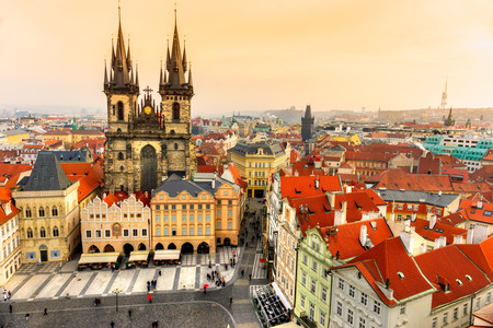 old town square: Tyn Church and Old Town Square in Prague, Czech Republic