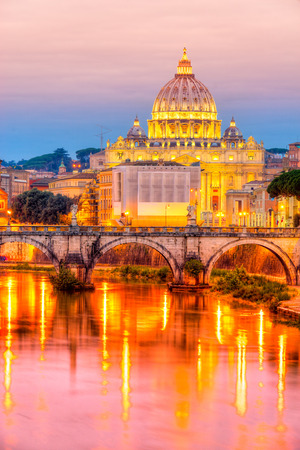 st  peter: Saint Angel Castle, St. Peter and Vatican in Rome, Italy.