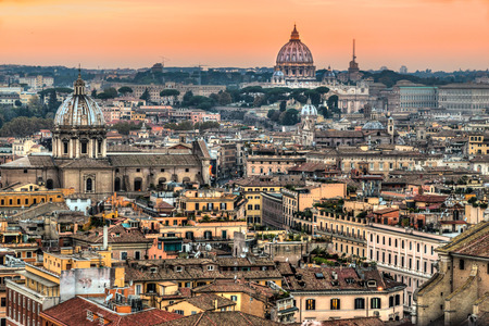 st  peter: View of St. Peter Cupola and Vatican in Rome, Italy. Stock Photo
