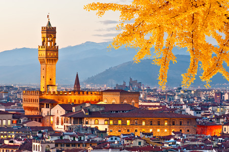 Sunset view of Palazzo Vecchio, Florence. Italy. Stock Photo