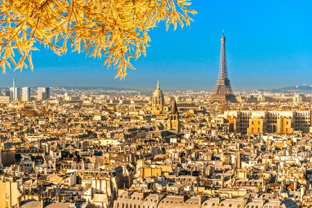 invalides: View of the Eiffel tower and Les Invalides, Paris.