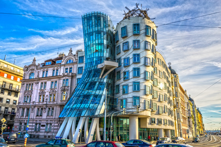 dancing house: PRAGUE - NOVEMBER 08, 2015: Modern building, also known as the Dancing House, designed by Vlado Milunic and Frank O. Gehry stands on the Rasinovo Nabrezi. Photographed on September 13, 2012 in Prague.
