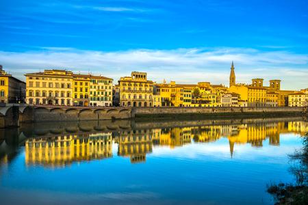 arno: Arno River with Santa Croce, Florence, Italy Editorial