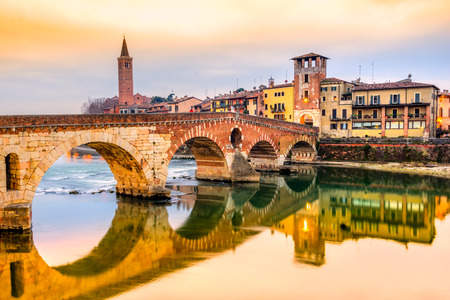 Verona, Italy. Scenery with Adige River and Ponte di Pietra. Banque d'images