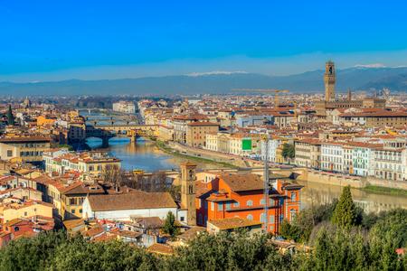 ponte: Ponte Vecchio and Palazzo Vecchio at sunrise, Florence, Italy