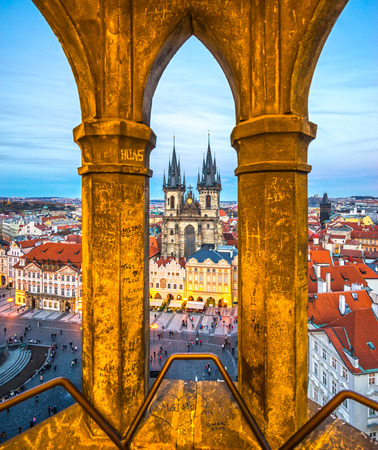 prague: Prague, Tyn Church and Old Town Square. Czech Republic Editorial