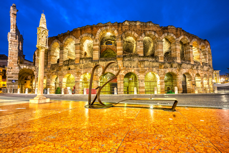 Verona, Italy. Night pcture of the famous Arena