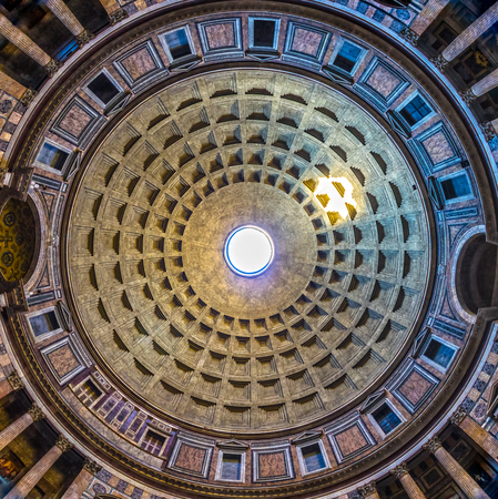 ROME, ITALY - NOVEMBER 3, 2015: Pantheon in Rome, Italy . Pantheon was built as a temple to all the gods of ancient Rome, and rebuilt by the emperor Hadrian about 126 AD.