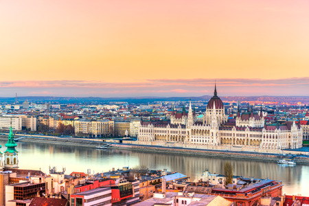 budapest: View of Budapest parliament at sunset, Hungary