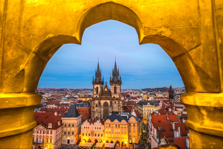 at town square: Prague, Tyn Church and Old Town Square. Czech Republic Editorial