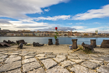 jewish people: BUDAPEST, HUNGARY - NOVEMBER 11: Iron shoes memorial to Jewish people executed WW2 in Budapest Hungary on November 11, 2015