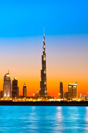 Dubai skyline at dusk, UAE. Imagens
