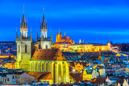 prague: Prague, Night View. Czech Republic Stock Photo