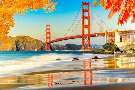 golden: Golden Gate Bridge, San Francisco, California, USA. Stock Photo