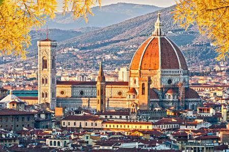 santa maria del fiore: Cathedral of Santa Maria del Fiore at dusk, Florence, Italy