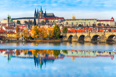 st charles: Prague, Charles Bridge, the Castle and St. Vitus Cathedral. Czech Republic