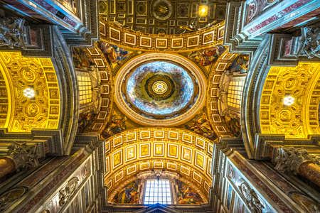 basilica: :ROME, ITALY - NOVEMBER 3, 2015: Inside the Saint Peter basilica (San Pietro). St. Peters Basilica is one of the main tourist attractions of Rome. Editorial