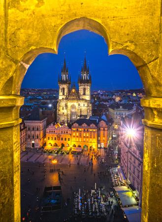 tyn: Prague, Tyn Church and Old Town Square. Czech Republic Editorial